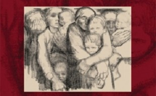 Image is of Wilson Brown book cover. Image is zoomed in so only the illustration on the cover is visible. Illustrated image is of distressed looking people hugging one another.