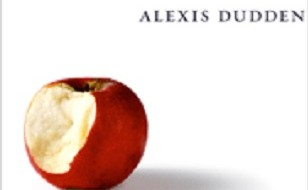 "Image is of ""Troubled Apologies"" book cover, but zoomed in so only the name of the author, ""Alexis Dudden"" and the image of the apple with a bite taken out are visible."