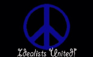 "Image is of a peace sign with the words ""Idealists United"" printed below the symbol."