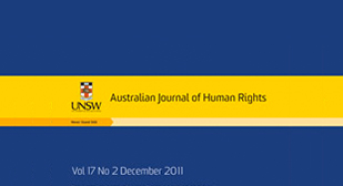 "Image is of a top of a journal cover; Left of the image reads, ""UNSW,"" with the logo of the university above the words. The logo is a flag with a cross and a lion in the center. Right of the image has text that reads ""Australian Journal of Human Rights."""