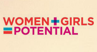 "Image from an internship reflection. Image is text that reads ""WOMEN + GIRLS = POTENTIAL"""