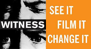 "Image is from student internship reflection. The left of the image has, going from top to bottom: a closeup of a man closing his eyes, the word ""WITNESS,"" and a closeup of a man opening his eyes. The right side of the image has the text, ""SEE IT, FILM IT, CHANGE IT."""