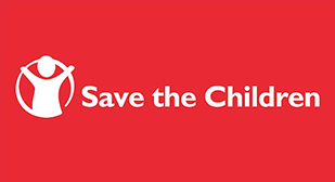 "Image is of a logo. The left of the logo has a non-detailed image of a child with their arms raised and a circle around them. The the right of the image, text reads ""Save the Children"""