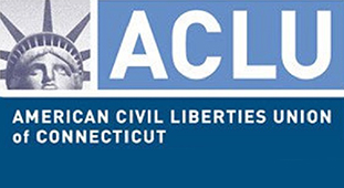"Top left of the image has a picture of the head of the Statue of Liberty. Top right of the image has text that reads, ""ACLU."" Bottom of the image has text that reads, ""American Civil Liberties Union of Connecticut"""