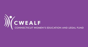 "Image is of CWEALF logo. On the left a several curved lines and a shaded circle that form the likeness of a person. On the right are the words, ""CWEALF - Connecticut Women's Education and Legal Fund"""