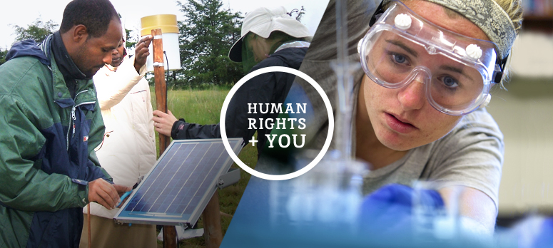 "Image is of the main human rights brochure cover. Left of the image has a photo of three people outside taking a scientific measurement. The center of the brochure cover has an unshaded circle with the words ""Human Rights + You"" inside of it. Right of the image has a scientist taking a sample from a test tube. The very bottom of the image has the words, ""Human Rights Minor > Major Impact"" ""UCONN/University of Connecticut"" and ""Human Rights Institute."" There is also the logo of the human rights institute next to the text."