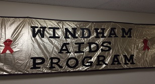 "Image is a picture of a banner, which reads, ""Windham AIDS Program"""