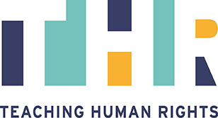 "Image is a logo. Top of the logo has text which reads, ""THR."" Bottom of the logo has text which reads, ""Teaching Human Rights."""