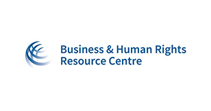 "Image is a logo. Left of the logo is a picture of lines making up a half-sphere shape. Right of the logo has the words, ""Business & Human Rights Resource Center."""