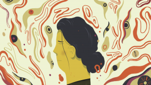 Image is an abstract illustration of a woman