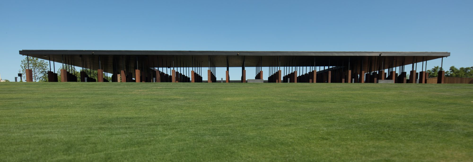 wide exterior shot of the national memorial for peace and justice