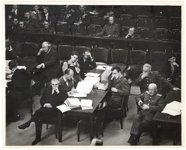 The courtroom at the Nuremburg trial