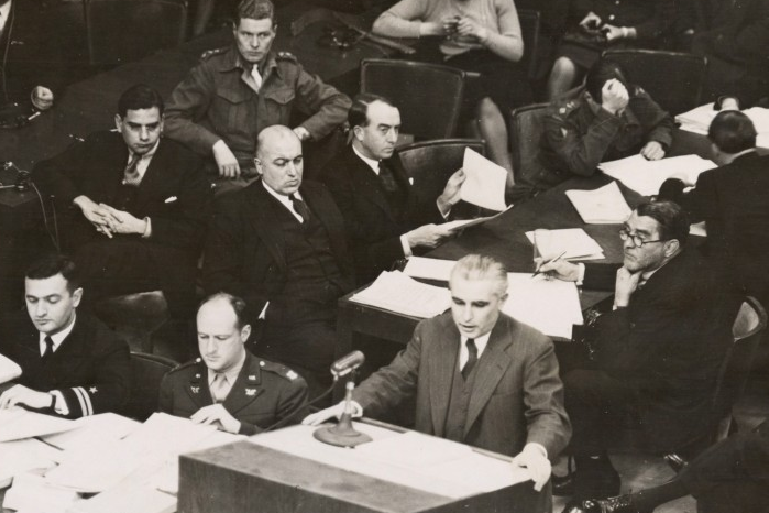 Thomas J. Dodd speaks at the Nuremberg trials.